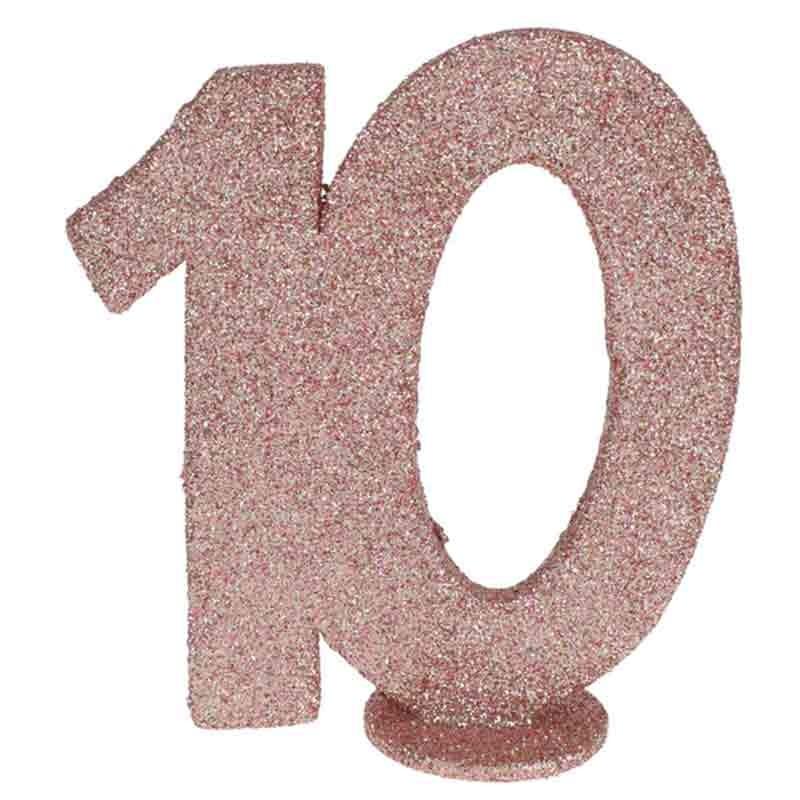 rose gold glitter fødselsdag tal 10 år. 1 stk.