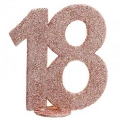 rose gold glitter fødselsdag tal 18 år. 1 stk.