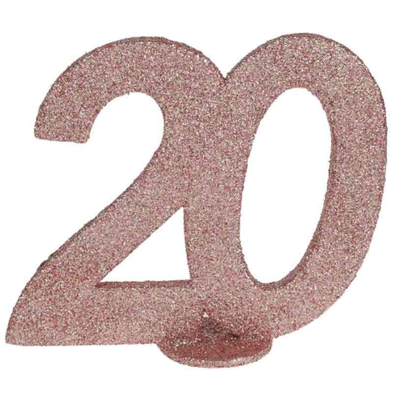 rose gold glitter fødselsdag tal 20 år. 1 stk.