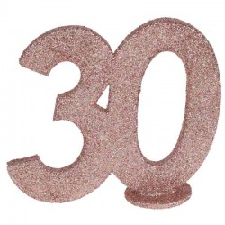 rose gold glitter fødselsdag tal 30 år. 1 stk.