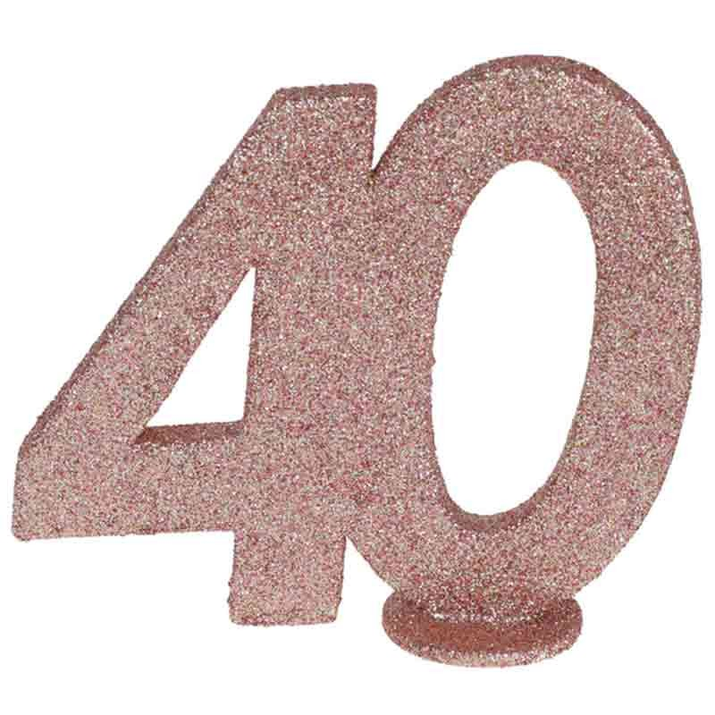 rose gold glitter fødselsdag tal 40 år. 1 stk.