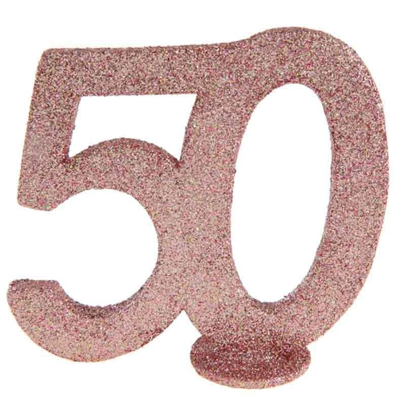 rose gold glitter fødselsdag tal 50 år. 1 stk.