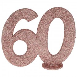 rose gold glitter fødselsdag tal 60 år. 1 stk.