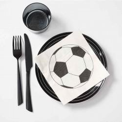 Servietter fodbold sort hvid bordpynt
