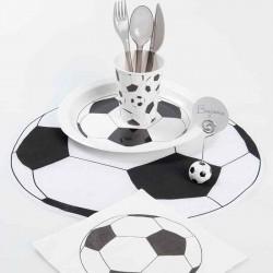 Servietter fodbold sort hvid engangsservice