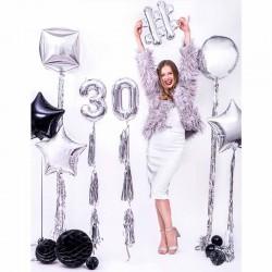 Sølv folie dørgardin til 30 års fødselsdag