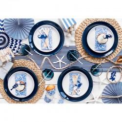 Blå rosetter til borddækning