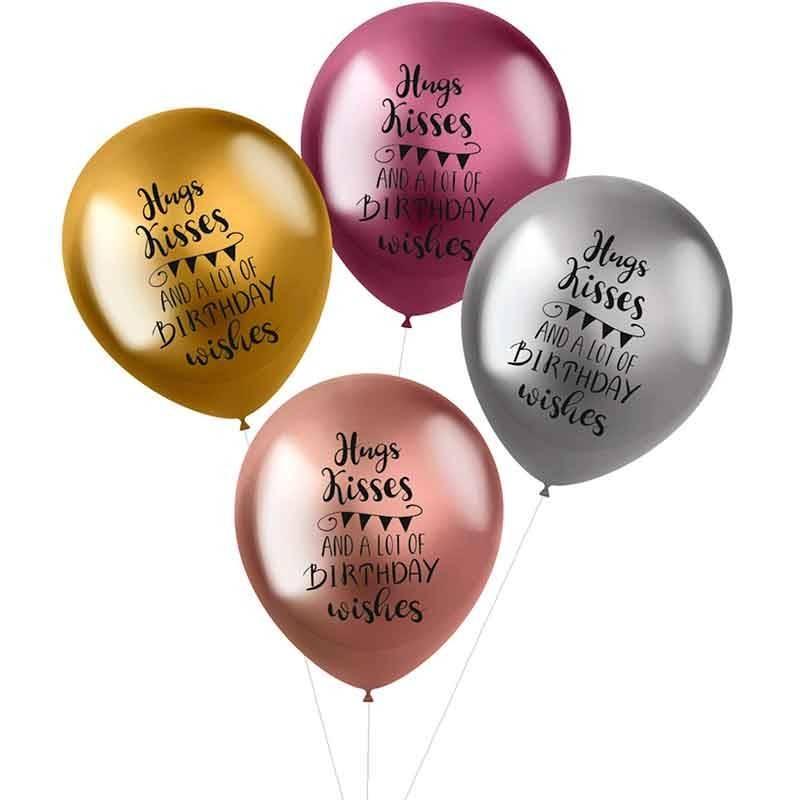 balloner hugs, kisses & wishes. 33 cm. 4 stk