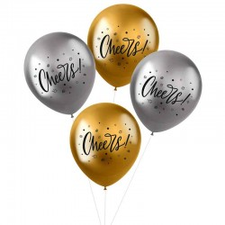 metallic balloner cheers. 33 cm. 4 stk
