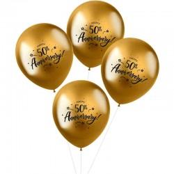 metallic balloner 50 th Anniversary. 33 cm. 4 stk