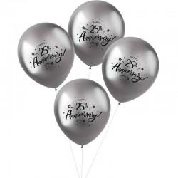 metallic balloner 25 th Anniversary. 33 cm. 4 stk