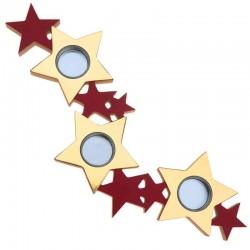 stjerne fyrfadsstage rød - guld
