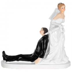 Topfigur Bruden fanger gommen med paraply