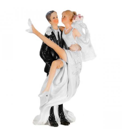 Bryllupsfigur gommen bærer bruden