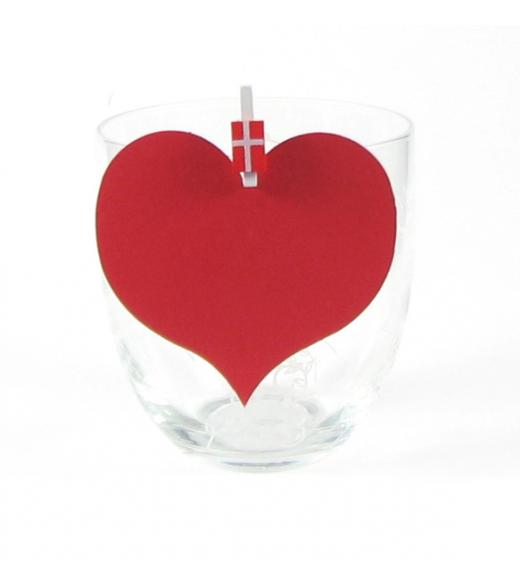 Hjerte bordkort rød 10 stk