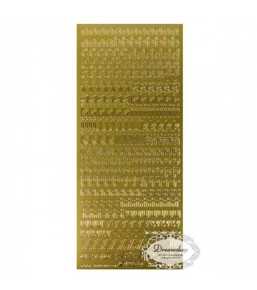 Guld stickers bogstaver 10 mm
