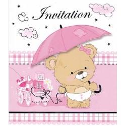 Invitation barnedåb Pige lyserød