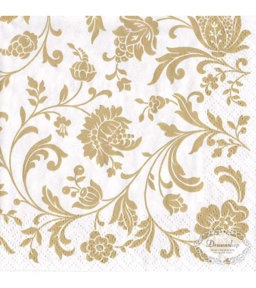 Frokostserviet Hvid med guld mønstre