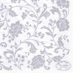 Kaffeserviet hvid med sølv mønstre