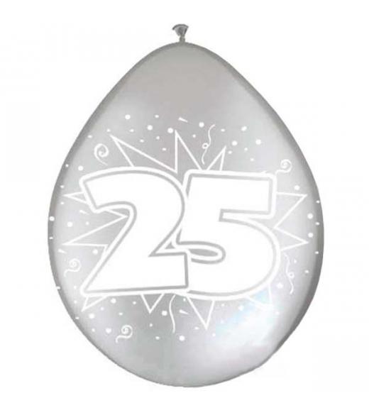 Balloner Metallic Sølv 25. 8. Stk