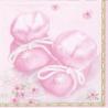 Dåbsservietter, lyserød med babysko