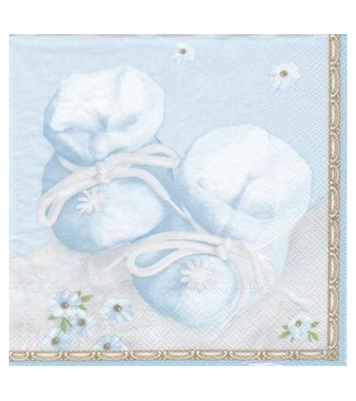 Dåbsservietter, lyseblå med babysko