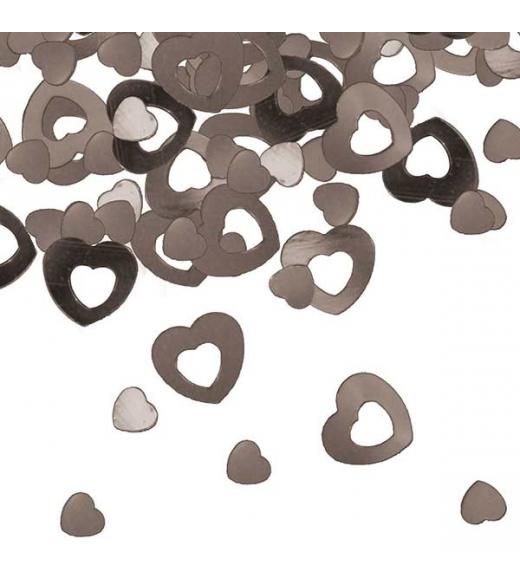 Konfetti hjerter sølv 13 mm