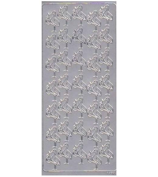 Stickers stork sølv