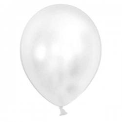 Balloner metallic hvid. 10 Stk.