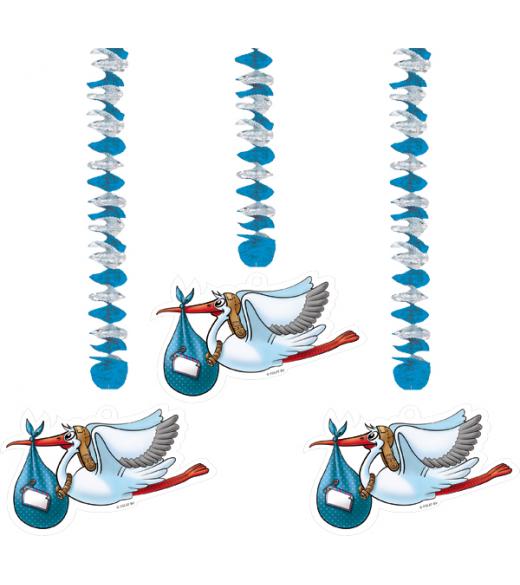 Guirlande 3 storke med pynt lyseblå