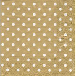 Kaffeserviet guld med hvide prikker