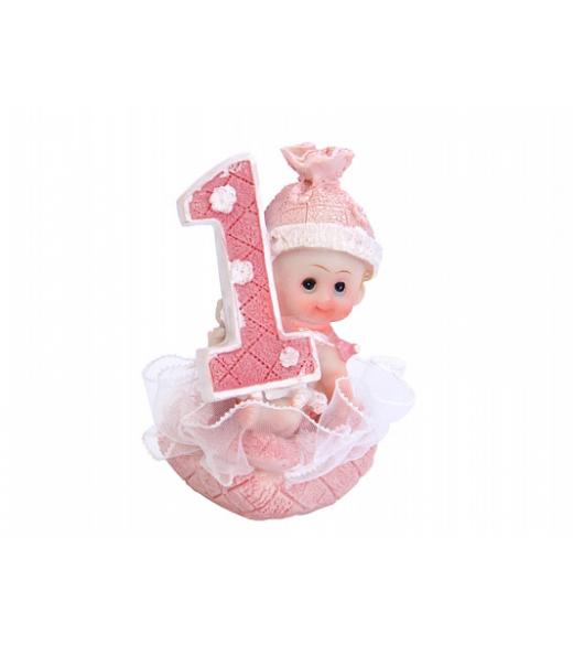 Baby pige med 1 tal lyserød