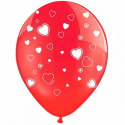 Rød ballon med hvide hjerter 6 Stk