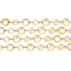 Krystal kæde guld 2 cm