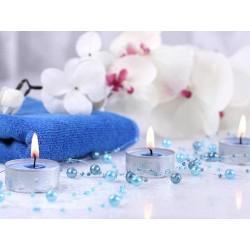 Turkisblå perlekæde til borddækning
