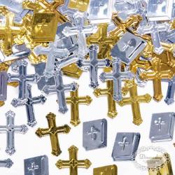 Kors og bibel konfetti guld -sølv