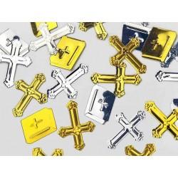 Kors og bibel konfetti guld -sølv til konfirmation