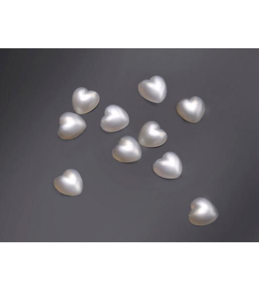 Halvperler hjerte elfenben 7 mm