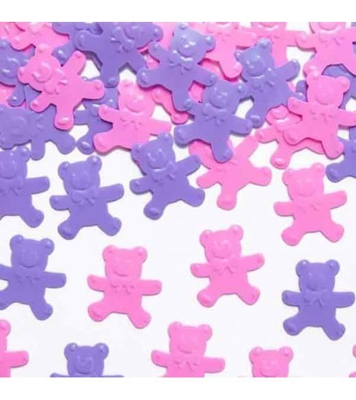 Konfetti bamser rosa og lilla