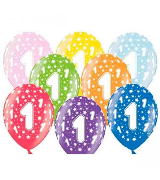 1 års fødselsdags balloner. 6 stk
