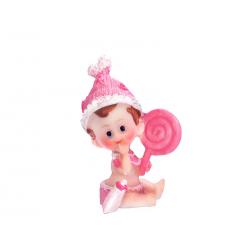 Figur barnedåb Pige lyserød rangle