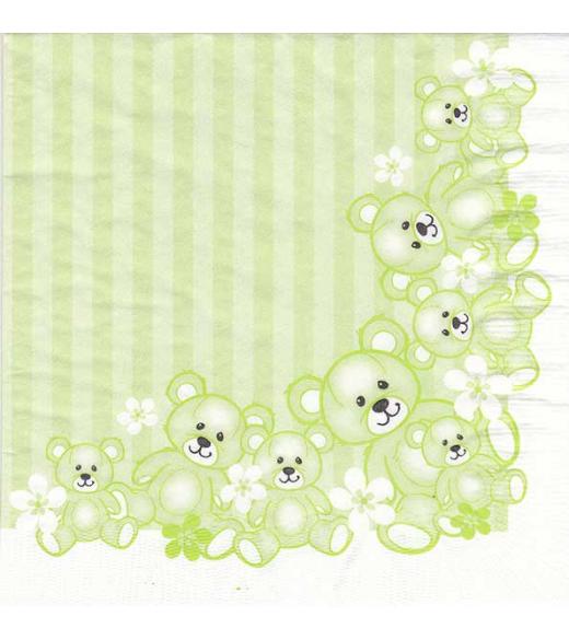 Dåbsservietter bamser limegrøn