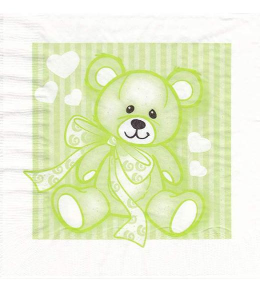 Dåbsservietter bamse limegrøn