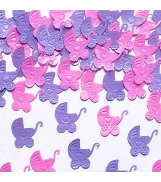 Barnevogn konfetti lyserød og lilla