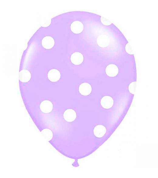 Lilla ballon hvide prikker. 6 Stk.