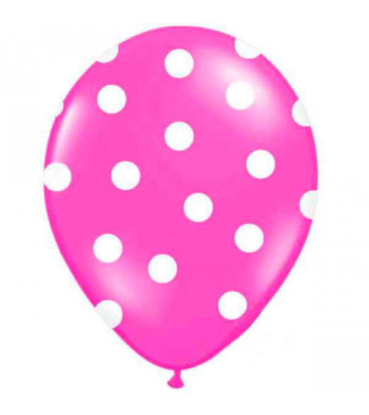 Pink ballon hvide prikker. 6 Stk.