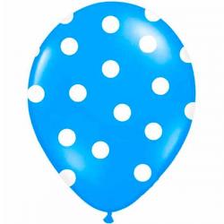 Blå ballon hvide prikker. 6 Stk.