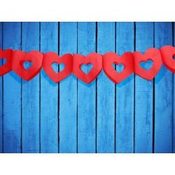 Rød hjerte guirlande 3 m