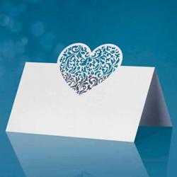 Hvidt glaskort hjerte. 10. Stk.