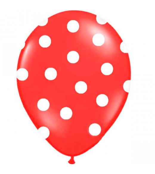 Rød ballon hvide polkaprikker. 6 Stk